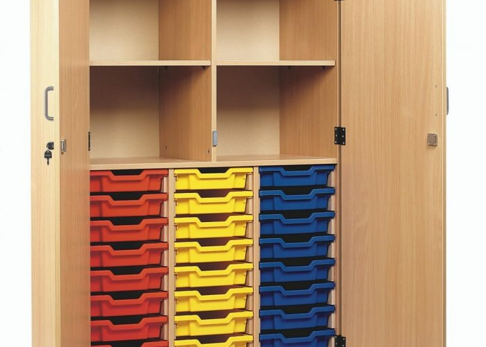24 Tray Cupboard with Doors Accessories Size W102.8 x D48.5 x H146.8cm