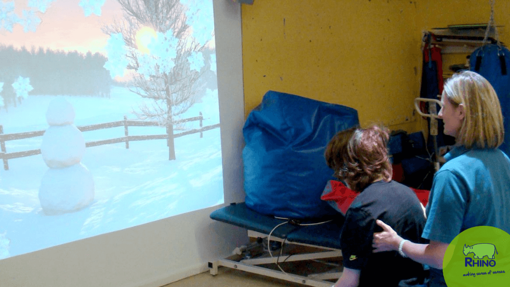 Interactive Sensory Projector being used in an Occupational Therapy Session