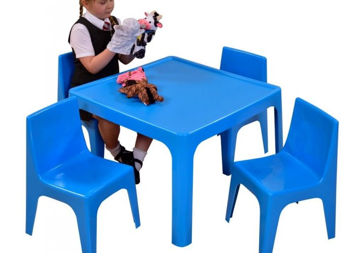 Jolly Kidz Blue Table & Chair Set Community Areas Size Chair size: W33 x D37 x H54.5cm Seat height: 30cm Table size: W72 x D72 x H52cm
