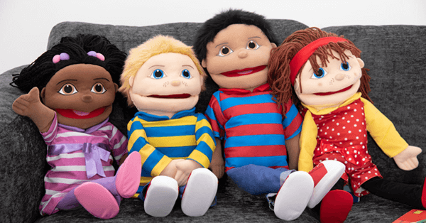 a group of childlike puppets brightening up a homeschool situation