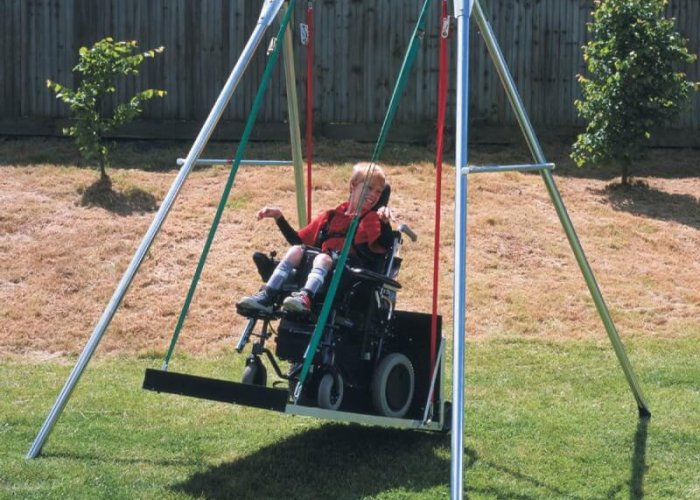 Single Swing Sensory Integration & Movement Size Overall Dimensions - 226cm wide, 244cm deep, and 228cm tall.  Weight limit 200kg.
