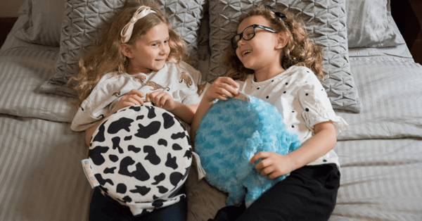 friends relaxing with their sensory cushions